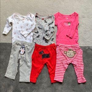 Bundle sale: baby girl body suit set (6M)